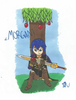 Morgan Using the Falchion to Cut An Apple by SenpaiTurboblaze