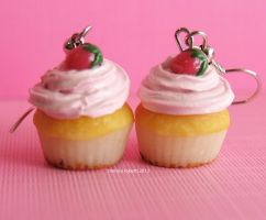 Handmade Strawberry Shortcake Cupcake Earrings by MotherMayIjewelry