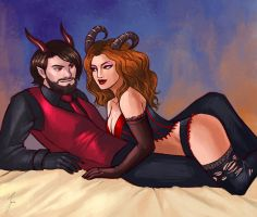 Commission: Demon couple by iara-art