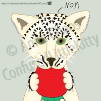 Snow Leopard Cub NOM by ConfusedLittleKitty