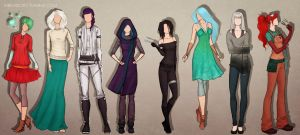 the girls from the story outfits by ribkaDory