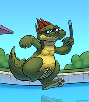 There's an Alligator in my Pool! by thazumi