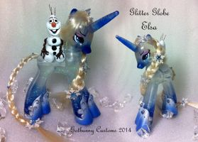 My little Pony Frozen Elsa and Olaf by gotbunny