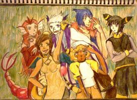 Gijinka Johto Party by Hebigami-Okami-77