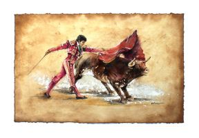 Matador - Watercolor Speed Painting and Video by Abstractmusiq