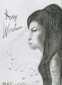 Amy Winehouse drawing by Roohdarkmetalsuicide
