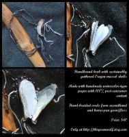 Handbound mussel shell blank book necklace by lupagreenwolf