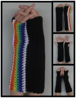 Shepard 1Rainbow Armwarmers by RebelATS