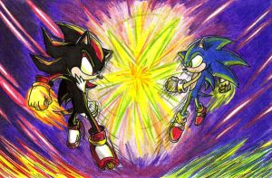 Sonic VS Shadow 'Colored' by TheMonica180