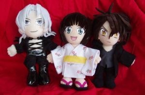 Black Cat anime plushie trio by magickitty1972