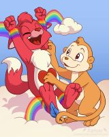 Commission- Rainbow Tickles by ChaosKomori
