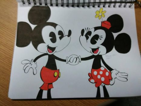 Mickey And Minnie  by fluffieclover