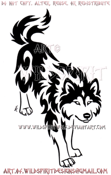 Focused Border Collie Wolf Tribal Design by WildSpiritWolf