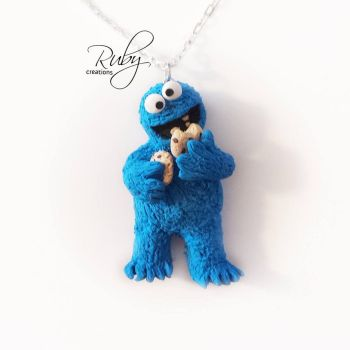 Cookie Monster necklace by Ruby-creations