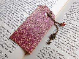 Gold and Purple Victorian Leather Bookmark by random-wish