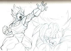 Vegeta and Goku Pencil Sketch by guerotheartist
