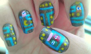 Pacman Nail Art by wolfgirl4716