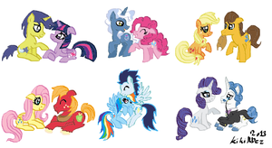 MLP: Mane 6 couples by KikiRDCZ