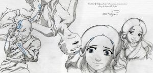 Doodles - Aang and Katara by selinmarsou