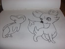 Cyndaquil and Kennekin (Uncolored) by JolteonKing217