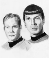 Kirk and Spock sketch by PhotonLights