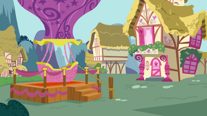 Hot Air Balloon in Ponyville by SilverMapWolf
