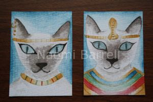 Male and Female Egyptian cat aceos by autumn-I-equinox