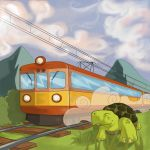 Turtle and the train by Kubekubek