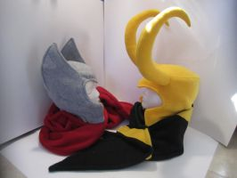 Asgardian Brothers Hats and Scarves by Ghost-Apple