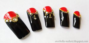Stylish Nail Art Desgin w Rhinestones n beads by everbella