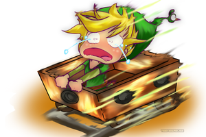 Minish Cap - Link et son wagon by Teenebreuse