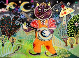 Banjo Cat with Halo Snake by hyronomous
