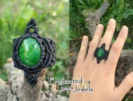 Macrame Green Dragon Veins Agate Ring by AziDahakah