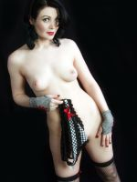 Red Bows Black Hose Nude by Snapfoto