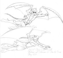 Flying Delacroix and Melusine by coda-leia