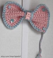 Appaloli:  Pink n Blue Sweet Bear Crochet Bow by Appaloli