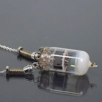 Steampunk Jewelry- Silver Vacuum Tube Necklace by Tanith-Rohe