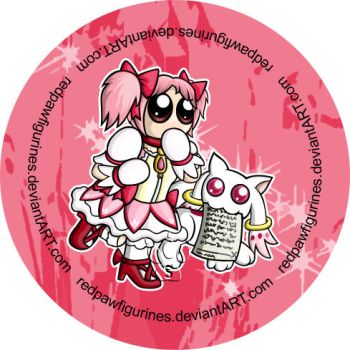 Madoka and Kyubey Chibi Badge by RedPawDesigns