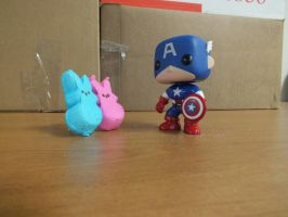 Captain American with his Peeps. by GimpTron