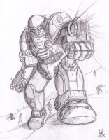 Space Marine Pencilart by Thurosis