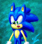 Sonic with a lollypop in his mouth looking confuse by TheTinfoilRat
