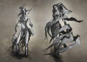 Fantasy Female Character Concepts - 01 by TSABER