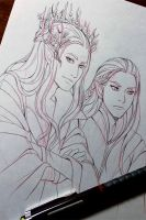 WIP: Thranduil and Legolas by Kimir-Ra