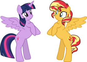 Sunset Shimmer and Twilight [COM] by PaulySentry