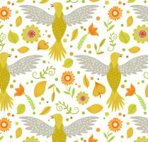 Dove And Flowers Seamless Background Vector by FreeIconsdownload