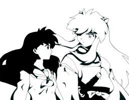 black and white _ Inuyasha by silversecrets