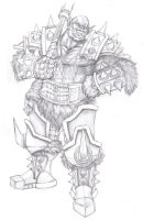 Orc with Battleaxe Presketch by RedLobster