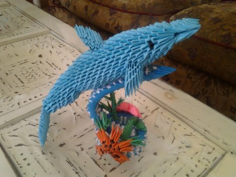 3d Origami Dolphin by Camelliawolf