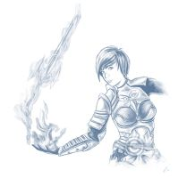 GW2 art gifting: Fsnowzombie--Laura Knight by Aerindarkwater