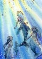 Humpback whale mermaids by NeliaViola